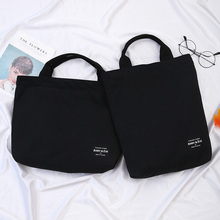 手提帆布包女款大学生日提sp9袋ipanc脑包A4书本黑色简约百搭