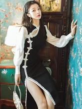 复古日常可穿旗袍改良版黑