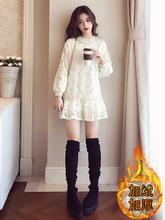蕾丝加sp女长袖中长ri季2020新式宽松外穿加厚打底裙子