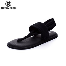 ROCspY BEAmd克熊瑜伽的字凉鞋女夏平底夹趾简约沙滩大码罗马鞋