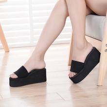 夏季时sp一字布带女rt鞋拖鞋松糕女式高跟凉鞋一字凉拖鞋厚底