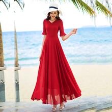 香衣丽sp2020夏pu五分袖长式大摆雪纺连衣裙旅游度假沙滩长裙