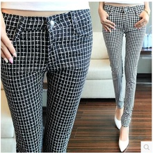 202sp秋装新式千pu裤修身显瘦(小)脚裤铅笔裤高腰大码格子裤长裤