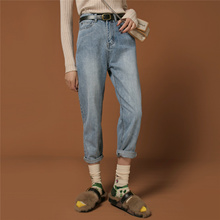 原创复sq休闲风高腰fh卜裤型(小)脚卷边九分水洗送腰带牛仔裤女