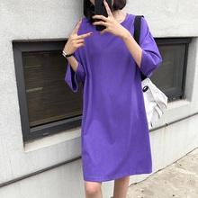 纯棉大sq女t恤短袖lc装宽松上衣长式洋气2021ins中长式