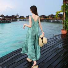连体裤sq松女夏海边lw020新式大码长裤气质垂感吊带阔腿裤裤裙