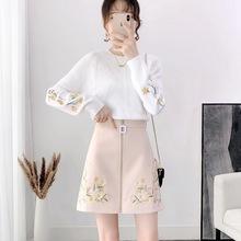 秋季外sq哺乳衣两件ny时尚显瘦哺乳装嫩妈喂奶衣毛衣短裙套装