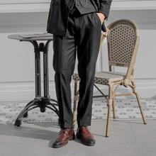 SOAsqIN英伦风ny纹直筒西装长裤 雅痞男装修身商务正装休闲裤