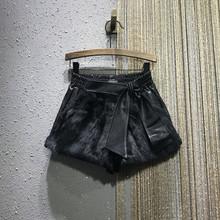 欧洲站2020秋冬新式松sr9腰宽松Aet显瘦真兔毛阔腿短裤靴裤女