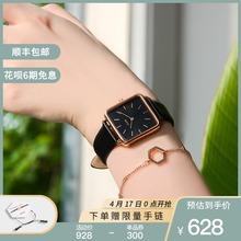 CLUsrE手表女ico情侣手表女学生防水牛皮(小)方表简约气质手表女