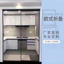 广州定制铝合金黑色极窄边推sr10门平开tu厨房钢化玻璃移门