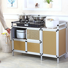 简易厨sr柜子餐边柜tu物柜茶水柜储物简易橱柜燃气灶台柜组装