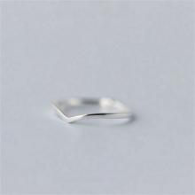 (小)张的sr事原创设计tu纯银简约V型指环女尾戒开口可调节配饰