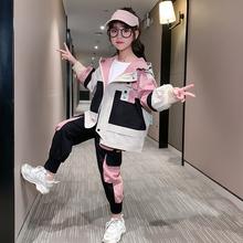女童春装套装2021新ss8韩款潮洋jy宝宝工装裤春秋季运动网红