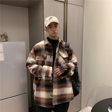 【UPstAYWANrt加厚格子衬衫外套情侣外穿夹棉衬衫潮男日系衬衫