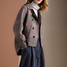 201st秋冬季新式rt型英伦风格子前短后长连肩呢子短式西装外套