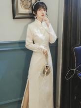 202st春秋法式复rt旗袍改良款连衣裙年轻式少女长式气质晚礼服