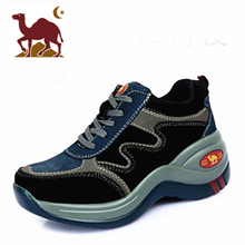 骆驼女st增高鞋20rt式厚底坡跟鞋户外登山真皮轻便松糕跟运动鞋