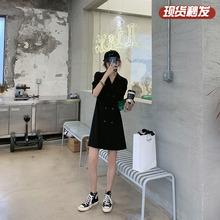 【胡楚st】2020ts天黑色收腰显瘦修身气质轻熟风西装连衣裙女