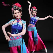 民族舞st典舞演出服zw心有翎兮戏曲舞蹈服装秧歌服伞舞表演服