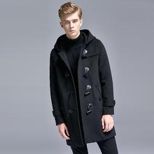 秋冬羊st牛角扣大衣zw厚羊毛呢子外套帅气中长式韩款抓�q风衣