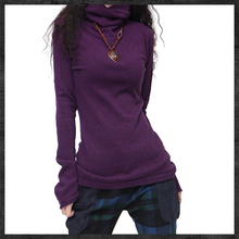 高领打st衫女加厚秋fa百搭针织内搭宽松堆堆领黑色毛衣上衣潮