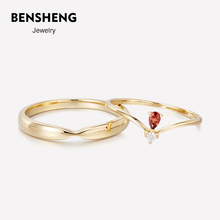 BENstHENG本ph9K黄金石榴石结婚情侣式对戒指男女(小)众轻奢七夕