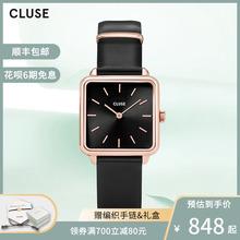 CLUstE手表女iph情侣手表女学生防水牛皮(小)方表简约气质手表女