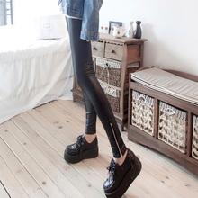 带拉链皮st1高腰加绒ph女裤装打底裤弹力(小)脚裤秋长裤铅笔潮