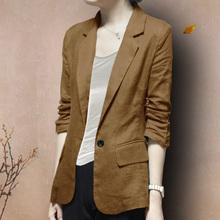 亚麻(小)st装外套春秋ve式气质棉麻西服七分袖女士大码休闲上衣