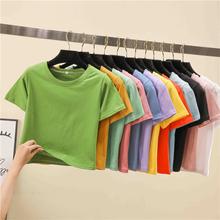 202st年新式短装ve式高腰上衣设计感(小)心机ins短袖t恤