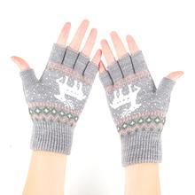韩款半st手套秋冬季ve线保暖可爱学生百搭露指冬天针织漏五指