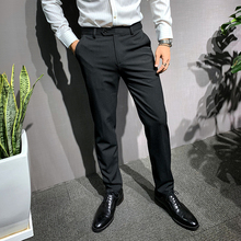 辉先生st0式西裤男ve款休闲裤男修身职业商务新郎西装长裤子