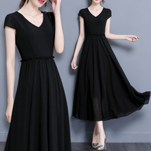 202st夏装新式沙ve瘦长裙韩款大码女装短袖大摆长式雪纺连衣裙