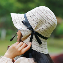 女士夏st蕾丝镂空渔ve帽女出游海边沙滩帽遮阳帽蝴蝶结帽子女