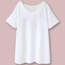 可外穿st衣女士纯棉oh约V领短袖家居服韩款夏季全棉睡裙白T恤