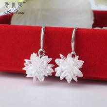 925st银长式水晶oh坠气质女韩国甜美锆石雪花耳环耳钉防过敏