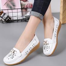 201st夏季镂空豆ck真皮女式牛筋软底平底护士鞋休闲洞洞鞋单鞋