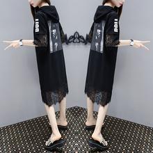 欧洲站st021夏季ck码女装宽松显瘦中长式印花蕾丝拼接连衣裙潮