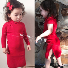 中国民st风亲子女童ne季连衣裙纯棉女孩女童红色裙子周岁冬式