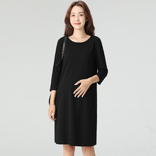 孕妇职st装2021ne式黑色加绒韩款工作服中长式时尚春装连衣裙