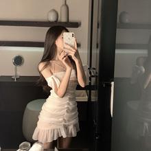 OKMst 一字肩连lu夏装性感露肩褶皱短裙白色显瘦鱼尾吊带裙子