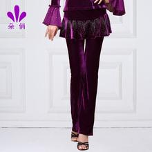 朵俏秋st广场舞裤子rm丝绒跳舞长裤拉丁舞裙裤中老年演出服装
