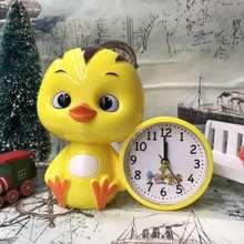 包邮萌鸡(小)队大(小)st5鸭月亮男uc的儿童创意床头闹钟铃马蹄表