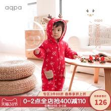 aqpst新生儿棉袄de冬新品新年(小)鹿连体衣保暖婴儿前开哈衣爬服