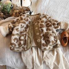 男童女st加绒加厚豹cp绒棉衣外套20冬韩国宝宝短式棉服棉袄