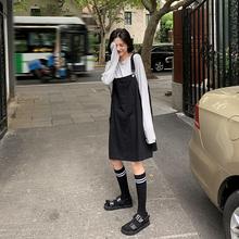 A7sstven背带ed季2020新式韩款学生宽松显瘦黑色少女连衣裙子