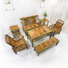 竹茶桌st组合沙发桌ed家用简约竹编复古方桌禅意手工竹制家具