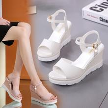 百搭学st坡跟凉鞋女yy夏天新式女鞋子高跟平底鞋性感粗跟罗马