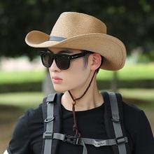 男士遮su草帽夏季渔an晒遮脸凉帽沙滩帽男夏天帽子牛仔太阳帽